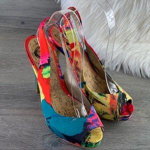 Guess Sling Platform Heels Size 7M